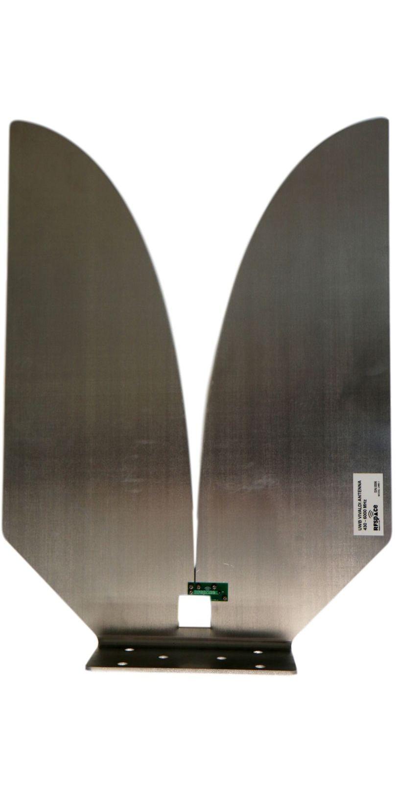 Aluminum Planar Vivaldi Horn Antenna measured far field in anechoic chamber gain results in dBi