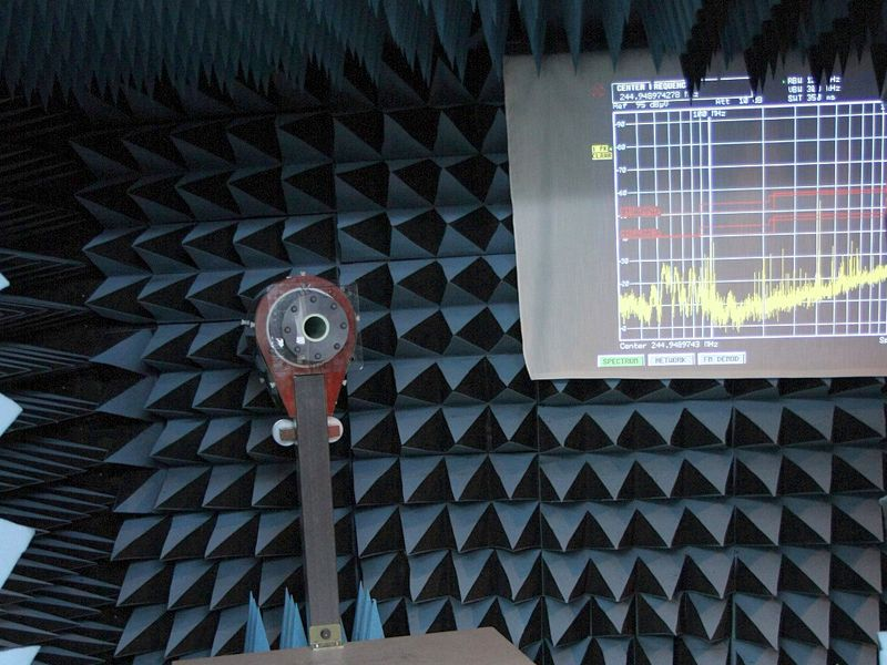 anechoic chamber projector screen spectrum analyzer results