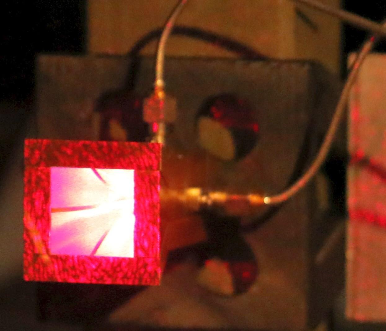 Anechoic Chamber Range Alignment Laser Illuminates Ka Ku Band Quad Ridge Dual Polarized Horn Antenna
