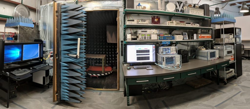 RF Anechoic Chamber And Antennas With VNA Bench And Spectrum Analyzer In Lab