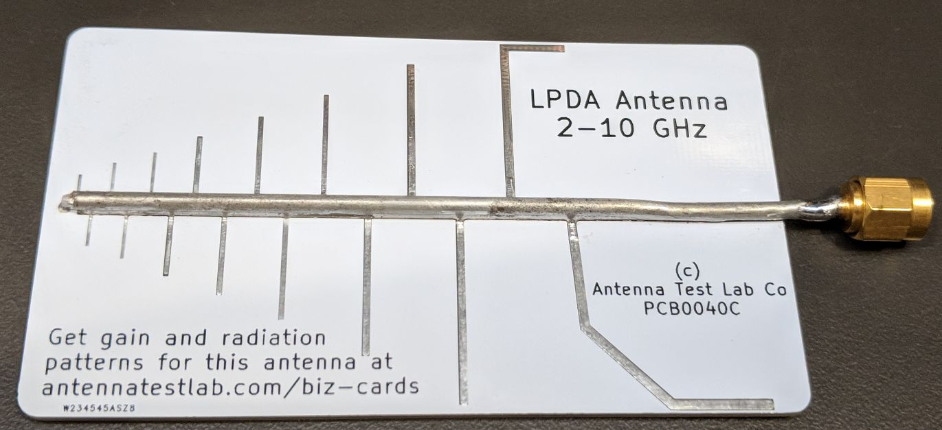 PCB0040-Log-Periodic-Dipole-Array-Antenna-PCB-in-with-SMA-Semi-Rigid-Coax-Soldered