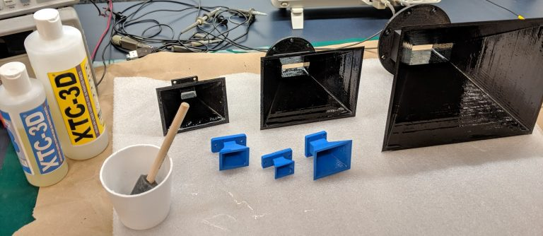 Epoxy coated 3D printed horn antennas designed for gain dBi testing