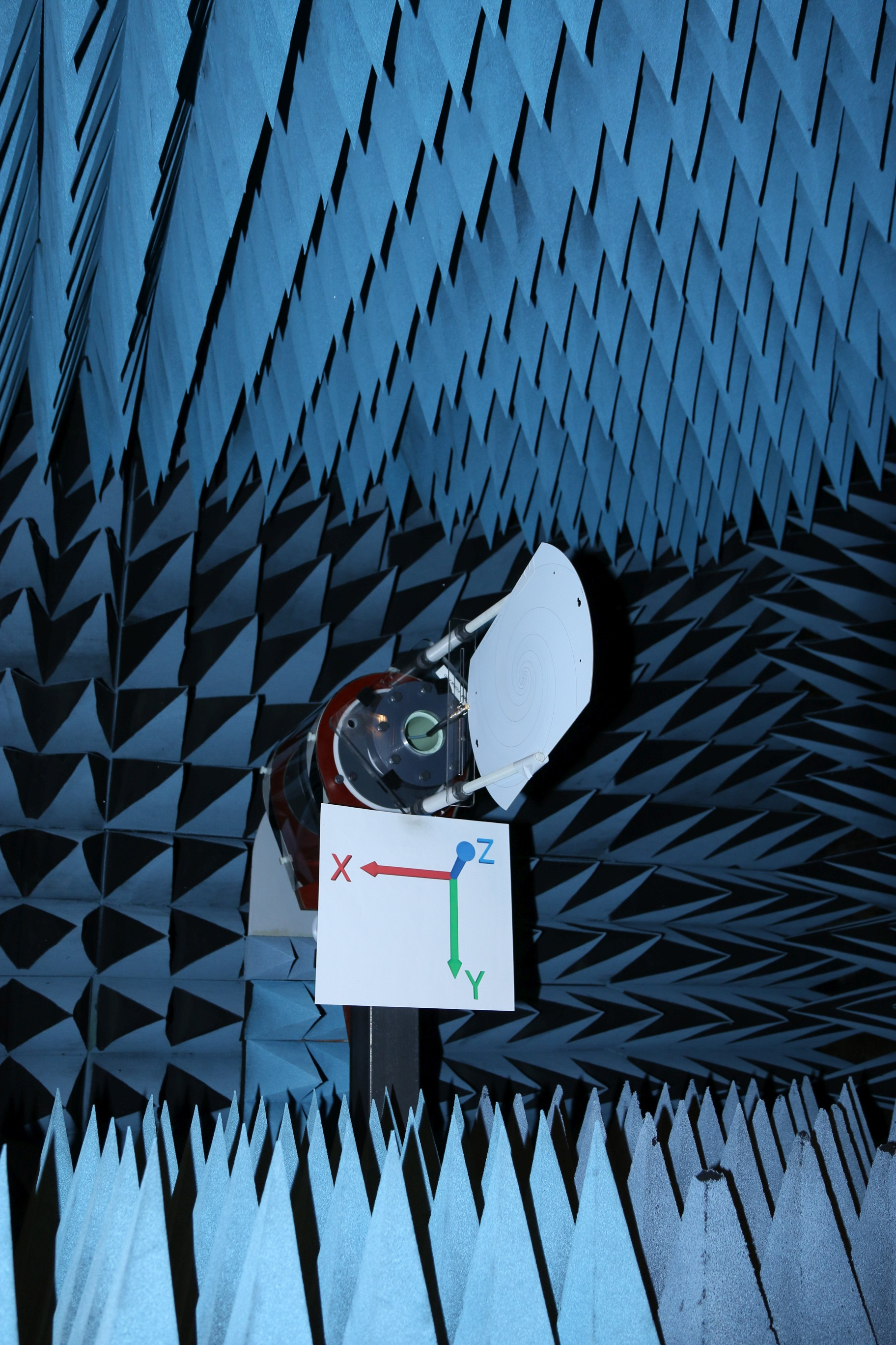 Log Periodic Spiral Antenna Gain Pattern Testing In Anechoic Chamber Far