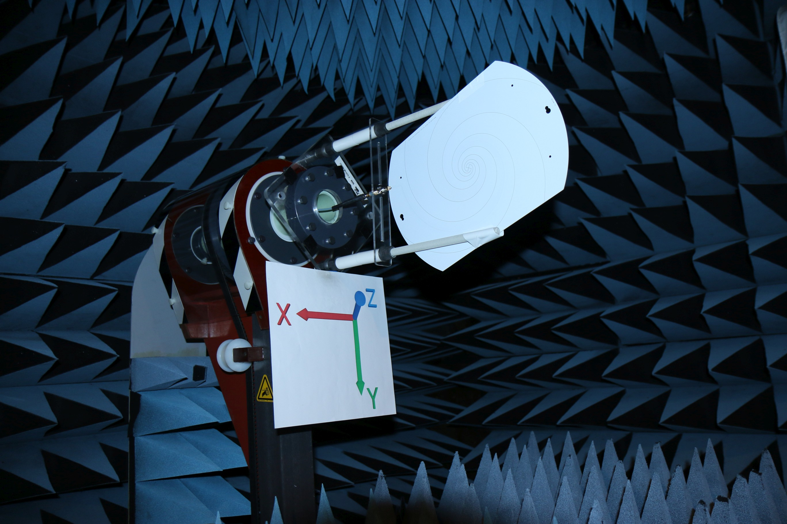 Log Periodic Spiral Antenna Gain Pattern Testing In Anechoic Chamber Side