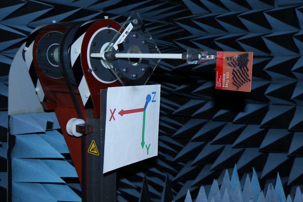 USA Flag Antenna in Anechoic Chamber for Gain Testing in dBi