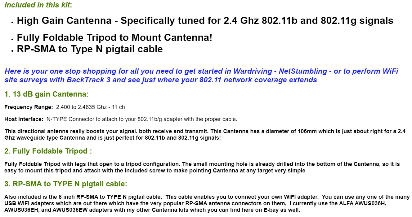 Cantenna eBay Claims Gain dBi Test Sample
